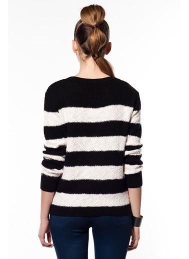 Cottonmood Cm5043 Çizgili Tunik Siyah
